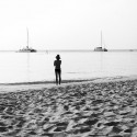 Watching - two boats in the bay b/w